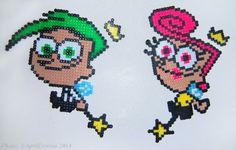 April Draven: Fairly Oddparents Cosmo and Wanda Perler Beads Perler Bead Templates, Diy Perler Beads, Perler Bead Art, Pearler Beads, Fuse Beads, Hama Beads Patterns, Beading Patterns, Cosmo Y Wanda, Hama Bead Boards
