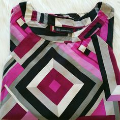 """SALE INC. 100% Silk Colorful Top INC 100% Silk Colorful Patterned Top 27"""" from top of shoulder to bottom 17"""" from armpit to armpit. Puffer Sleeves Like New INC International Concepts Tops"""