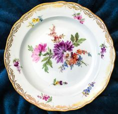 The Aster Meissen dessert plate in floral and gold.