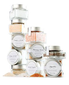 Dean & DeLuca salts // Simple glass jars make the spices look very natural and appealing.