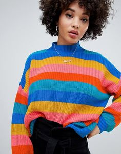 2badb7a89a1 Missguided high neck sweater in rainbow stripe