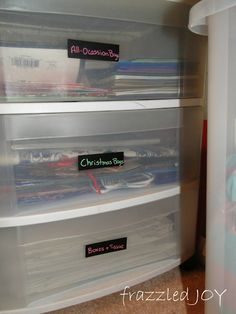 frazzled JOY: Craft Closet Organized {and labeled} - gift bag storage