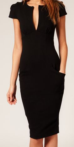 Ponti Pencil Dress Black Designer ASOS Celeb Favorite Tailored Stretch 15-C71 M