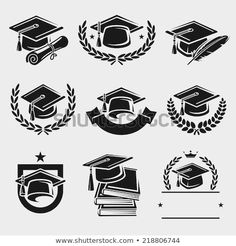 Find Graduation Cap Labels Set Vector stock images in HD and millions of other royalty-free stock photos, illustrations and vectors in the Shutterstock collection. Graduation Logo, Graduation Silhouette, Graduation Images, Graduation Ideas, Theme Background, Book Images, En Stock, Free Vector Art, Illustration