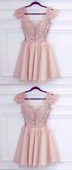 pink v neck short prom dress, cute homecoming dress