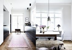 dining room, sheepskin on bench Home Design, Interior Design, Home Furniture, Modern Furniture, Masculine Interior, Kitchen Family Rooms, New Kitchen Cabinets, Dining Room Design, Design Kitchen