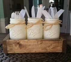 Mason jar table decor-mason jar kitchen decor-rustic utensil holder -  – Stacy Turner Creations