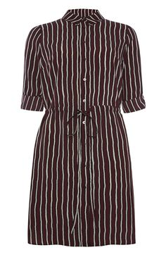 Burgundy Stripe Shirt Dress