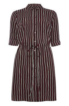 Primark - Weinrotes Hemdkleid mit Streifen