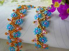 Free pattern for beaded bracelet Spring Flowers U need: seed beads 11/0 seed beads 6/0