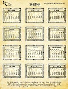 Free Printable 2016 Vintage Calendars, Color Me Calendar Template, Inspiring Calendar Ideas