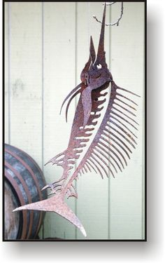 Fish on Hook Funky Old Fish Sculpture  Made of by GreenTreeJewelry, $29.95