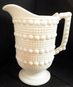 EAPG ~ Ohio Flint Glass Co. ~ 'Candlewick' ~ Milk Glass Water Pitcher