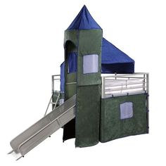 $699.99-$799.00 Baby Powell Boys Blue & Green Twin Tent Bunk Bed with Slide - Fit for adventure. The Tent Bunk Bed with Slide includes a tent over twin bed and a covered hiding place below. The top of the slides is tented with a tower with peek through, fold down window covers. Finished in Silver coat with Blue and Green Microfiber fabric tent, 100-percent polyester. Uses a standard twin size ma ...