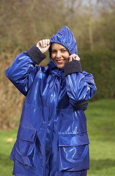 Vinyl Raincoat, Blue Raincoat, Pvc Raincoat, Girls Wear, Women Wear, Parka, Rain Suit, Hooded Cloak, Blue Coats