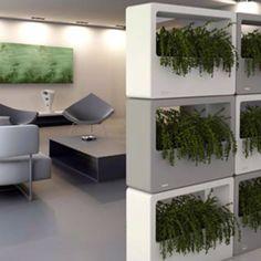 Modern office planters - like the vertical wall garden as well