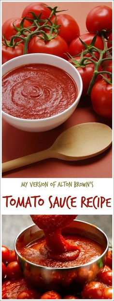 Looking for an easy homemade tomato sauce recipe? Or want to make easy fresh tomato pasta sauce from scratch? Here's my version of Alton Brown's tomato sauce recipe. Double the recipe and freeze half and you'll have spaghetti sauce in the freezer ready to Pasta Sauce With Fresh Tomatoes, Tomato Pasta Sauce, Fresh Tomato Sauce Recipe, Tomato Sauce From Paste, Freezing Tomato Sauce, Recipes For Tomatoes, Marinara Sauce From Scratch, Tomato Sauce Crockpot, Spaghetti Sauce From Scratch