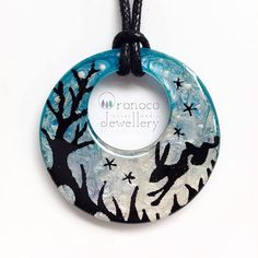 Hare forest necklace hare silhouette pendant running hare