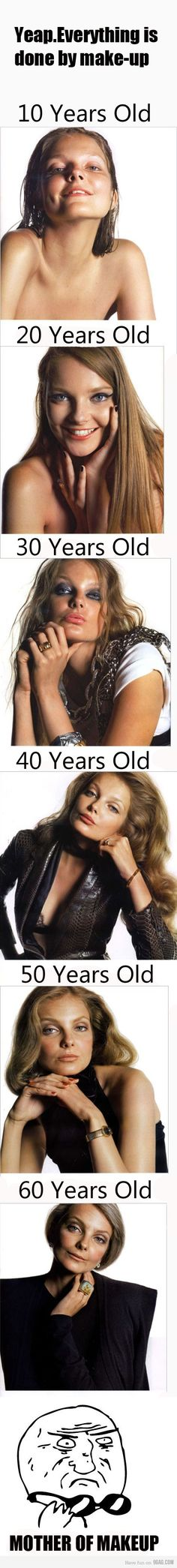 make-up transformation.... from 10yrs old to 60yrs old... one person... S