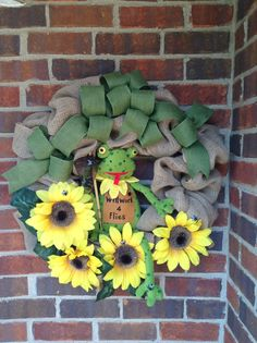 Frog wreath I made from another one I saw on Pinterest. Love frogs so I had to have one.