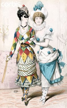 1880s Harlequin & Pierrot costumes