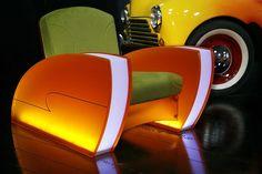 Deville III, retro-futuristic furniture, retro, colorful, neon, futuristic furniture, futuristic armchair, retro-futurism, car