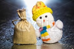 Qdiz Stock Photos | Christmas snowman toy and sack,  #background #bag #burlap #celebration #Christmas #closeup #decoration #doll #eve #figure #full #fun #funny #gift #greeting #grunge #holiday #little #Merry #metal #new #object #pouch #present #sack #silver #small #snowman #surface #surprise #textile #toy #traditional #white #xmas #year