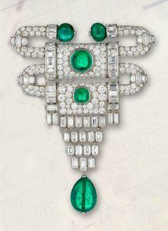 Van Cleef & Arpels. Art Deco 'Heurtoir' brooch, Paris, 1929. Emeralds, diamonds and platinum, 8.3 x 6.3 cm. Signed 'VAN CLEEF ARPELS PARIS