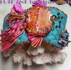 ANGELINA Shibori Ribbon ANGEL FISH: Bead embroidered bracelet
