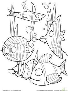 Preschool Kindergarten Animals Worksheets: Color the Fancy Fish