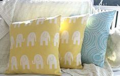 Elephant Print Sunny Yellow & Natural Pillow by SimplySundayShop, $17.00