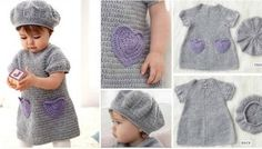 This cute Beehive Crochet Baby Dress Hat set is a must have for the little lady in your life. It will turn your little girl into a princess in the making. Crochet Gratis, Crochet Diy, Unique Crochet, Crochet Toddler, Crochet For Kids, Baby Patterns, Crochet Patterns, Crotchet Dress, Diy Crochet Projects