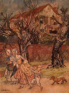 Marvellous tales of haunted brooks and haunted fields and haunted houses. Facing p 34. Arthur Rackham, Washington Irving's The Legend of Sleepy Hollow, 1928.