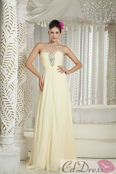 Elegant Empire Sweetheart Floor-Length Chiffon Beads Prom Dress