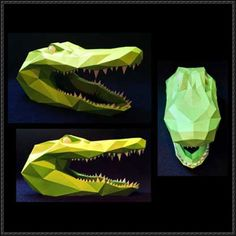 Alligator Head Free Papercraft Download - http://www.papercraftsquare.com/alligator-head-free-papercraft-download.html