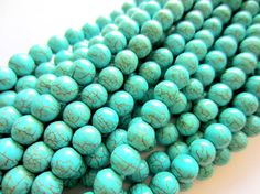 Turquoise beads 8mm crackled howlite gemstone 1 strand apx.48 beads  Ask a Question $5.85