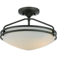 """View the Quoizel OZ1713 Ozark 2 Light 13"""" Wide Semi-Flush Ceiling Fixture with Etched Glass at LightingDirect.com."""