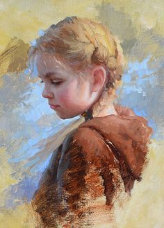 """""""Summer's End"""" - Marci Oleszkiewicz, oil on canvas {contemporary impressionistic art beautiful blonde female child head profile young girl face portrait cropped painting} <3 marcioleszkiewicz.com"""