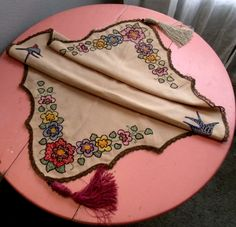 Art Nouveau Piano Table Cover Embroidered by SweetRepeatVintage,