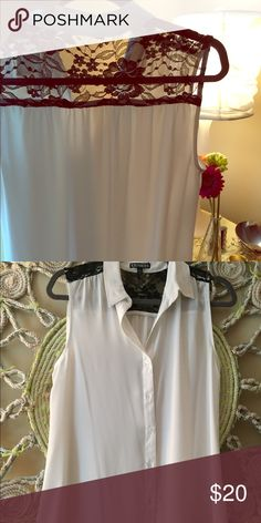 Express white and black lace flowy blouse! NWOT. Have been waiting for the day to come where i know I won't be drinking coffee....and now I've come to terms with that not being in my near future 😜 flowy, shear, would look awesome with a blazer. Needs a less clumsy/caffeinated home Express Tops Blouses