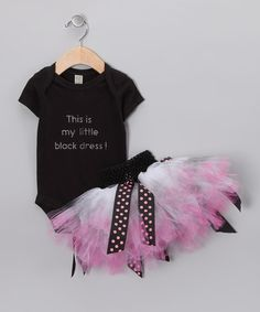 Take a look at this Black & Pink 'Little Black Dress' Bodysuit & Tutu - Infant by Brookie Jos on #zulily today!