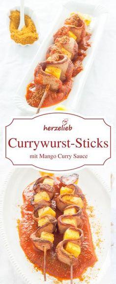 Food - Rezept für Currywurst am Spieß mit selbstgemachter Mango Curry Soße. Fastfood voll lecker! Rezept von herzelieb.de