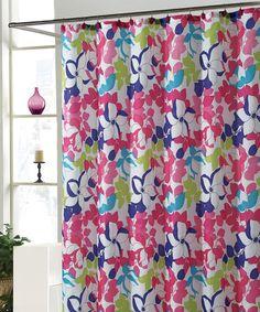 Pink & Blue Makayla Shower Curtain Set by Victoria Classics #zulily #zulilyfinds