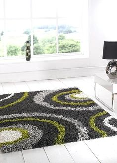 Grey Green Rug Lime Shaggy Rugs Equator Steel