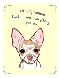 Chihuahua 8x10 Print of Original Painting with phrase. $20.00, via Etsy.