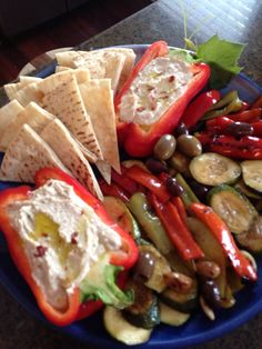 I love the idea of using a pepper for the dip ! Mediterranean mezze plater- will have to substitute the pita for passover. Mezze Platter Ideas, Meze Platter, Antipasto Platter, Greek Recipes, Raw Food Recipes, Vegetarian Recipes, Healthy Recipes, Kraft Recipes, Mediterranean Platters