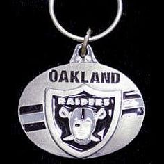 Oakland Raiders Oval Carved Metal Key Chain #66726