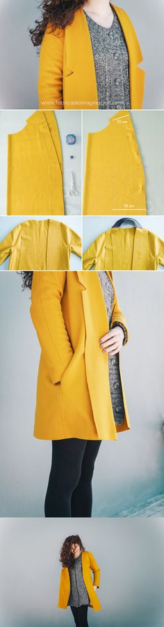 DIY Mustard Coat + XL Lapels · DIY Abrigo Mostaza con Solapas XL · Fábrica de Imaginación · Steps in Spanish coatpatternsewing Coat Patterns, Clothing Patterns, Sewing Patterns, Skirt Patterns, Blouse Patterns, Pattern Skirt, Blazer Pattern, Jacket Pattern, Bolero Pattern