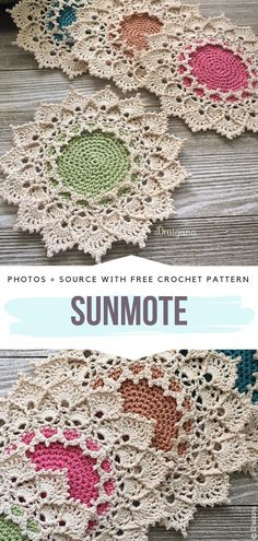 Stunning Crochet Doilies Free Patterns - K T - Stunning Crochet Doilies Free Patterns Sunmote Free Crochet Pattern. These doilies have stunning edging with shells and picots. Change the colours of the center for fun effect. Thread Crochet, Crochet Crafts, Crochet Stitches, Crochet Projects, Knit Crochet, Crochet Picot Edging, Crochet Summer, Crochet Borders, Filet Crochet