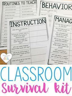 Classroom Survival Kit for teachers. Forms to reflect and plan classroom management, instruction, behavior, and so much more.